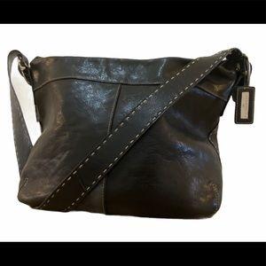 El Portal Soft Black Leather Whipstitch Hobo Bag